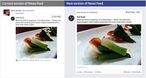 Facebook new newsfeed example