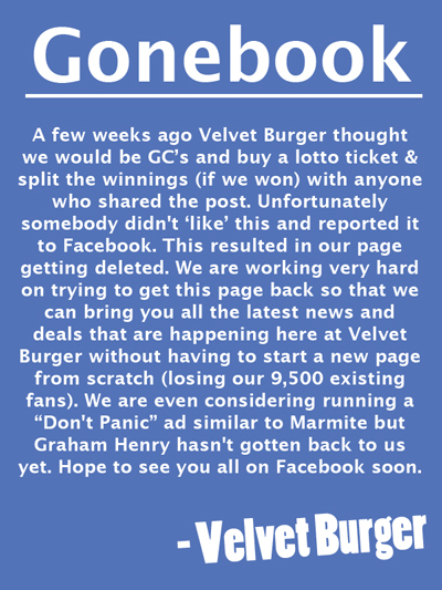 Velvet Burger Facebook page deleted